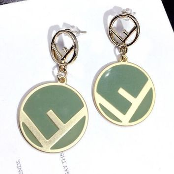 FENDI Fashionable Women Cute F Letter Circular Candy Color Pendant Earrings Accessories Jewelry Green