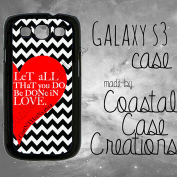 Red Heart and Chevron 1 Corinthians 16:14 Bible Verse Samsung Galaxy S3 Hard Plastic or Rubber Cell Phone Case Cover Original Design