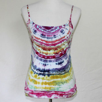 Striped Tank Top, Tie Dye Tank Top, Green and Pink Tank, Yoga Top, Tie Dye Activewear, Large Tie Dye Tank Top, Tye Dye
