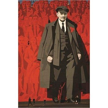 IMAGE OF LENIN political poster LENINGRAD SOVIET UNION collectors 24X36 RARE