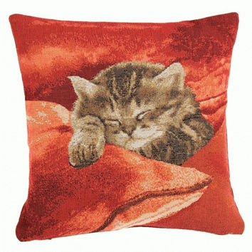 Sleeping Cat Red 2 European Cushion Cover