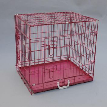 """BestPet 24""""Pink Pet Folding Suitcase Dog Cat Crate Cage Kennel Pen with ABS Tray"""