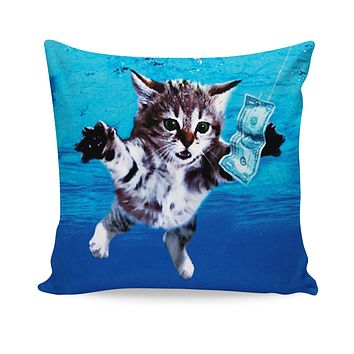 Cat Cobain Couch Pillow