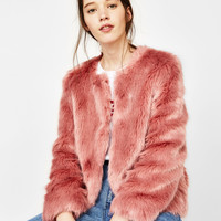 Short faux fur coat - Jackets - Bershka United States