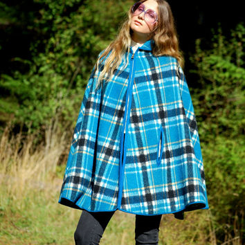 1960's Plaid Wool Cape Coat, Blue Tartan 60s Mod Jacket, Zip Up Wool Poncho, REVERSIBLE Blanket Shawl Wrap, Fall Winter Collared Sweater