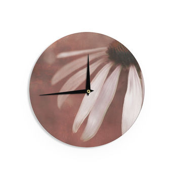 """Iris Lehnhardt """"Copper and Pale Pink"""" Brown Flower Wall Clock"""