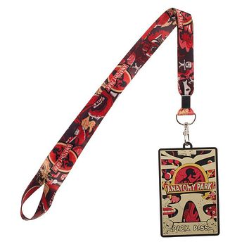 Red Rick and Morty Anatomy Park Wide Strap Lanyard ID Badge Holder