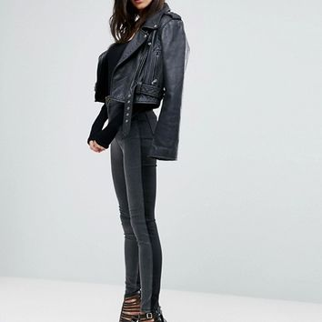 ASOS Rivington High Waisted Denim Jeggings in Tonal Black and Washed Black at asos.com
