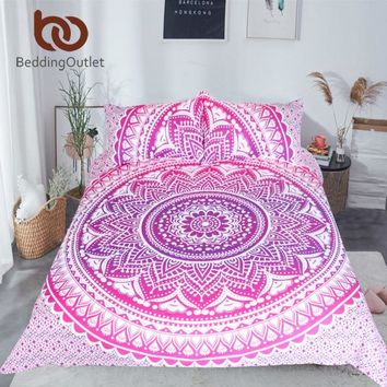 BeddingOutlet Pink Mandala Flower Duvet Cover Set With Pillowcase Bohemia Girls Bedding Set Queen Size Bedspread 3Pcs