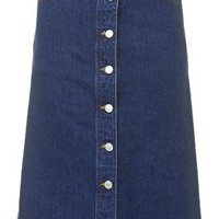 MOTO Denim Button Midi Skirt - Mid Stone