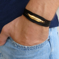Men's Bracelet - Men's Feather Bracelet - Men's Black Bracelet - Men's Jewelry - Bracelets For Men - Jewelry For Men - Gift for Him