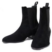 Suede Leather Men Chelsea Boots Med Heel Black Ankle Boots Shakeskin Leopard Prints Casual Men Shoes High Quality Plus Size