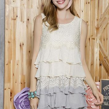 Tiered Ruffle Lace Tunic Dress - Beige/Grey