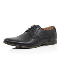 River Island MensBlack stitch detail round formal shoes