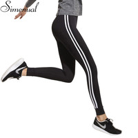 Fitness athleisure women leggings 2016 new arrival striped slim splice black long leggins clothes ladieswear legging ladieswear