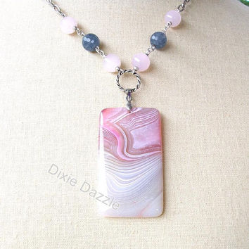Pastel pink and gray stripe agate pendant necklace with rose quartz, larvikite, long necklace, pendant necklace, soft colors, asymmetrical
