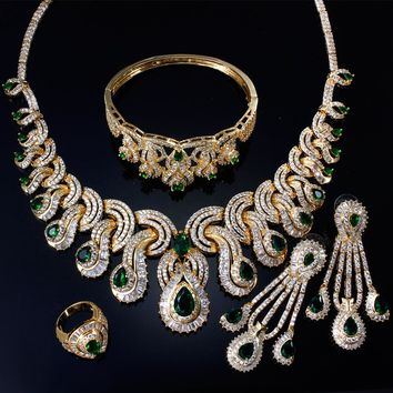 Fine Green Color Engagement  jewelry sets Lead free Necklace+Earring+Bracelet+Ring Set Wedding & Engagement Jewelry