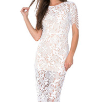 White Cut Out Lace Bodycon Dress