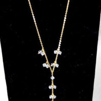 Blue Tulip Store 18K Clear Quarts Drop Necklace New Lightweight Pendant In Box