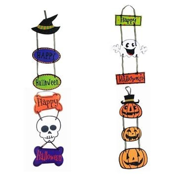 Halloween decorative props Halloween pendants plaques pumpkin ghost bats three paper pendants dropshipping