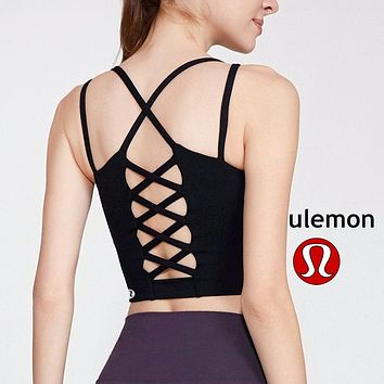 Lululemon athletica women's fitness yoga high stretch sports bra backless fish net back