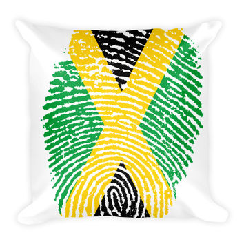 Jamaican Fingerprint Flag Pillow - 18x18
