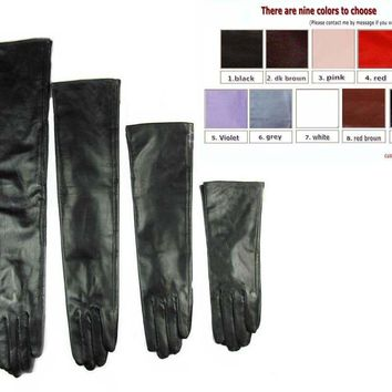 custom made 30cm to 80cm long top sheep leather long leather evening opera gloves multi colors