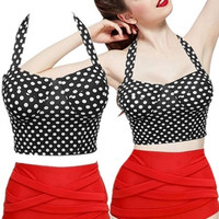 Fashion Women's Summer Vintage Polka Dots Print Bikini Top + Bandage Bottom Swimsuit = 1945856388