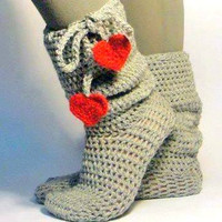 Crochet Bootie Slippers Heart Slipper Socks Knit Boots Slipper Socks Easy on Boots Thick Slippers House Shoes Indoor Shoes Gift For Her