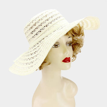 Ivory Linen straw floppy sun hat with bow band, Sun hat, Summer hat, boat, beach, vacation