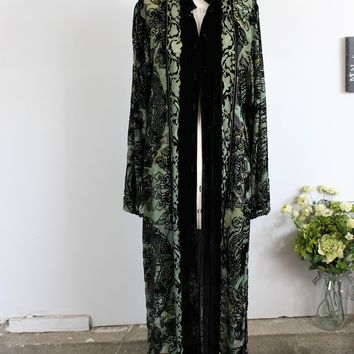 Vintage 1990s Green And Black Silk Velvet Jacket by Citron With Chinese Dragon