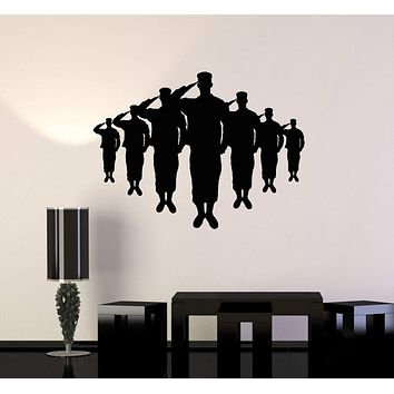 Vinyl Wall Decal Silhouette American Soldiers Military Patriotic Art Stickers Mural Unique Gift (ig5105)