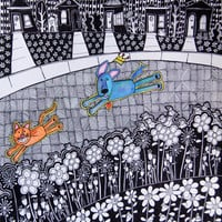 Ink and colored pencil drawing, dog and cat running, landscape, floral, flowers, houses, patterns, black and white, blue, orange, action