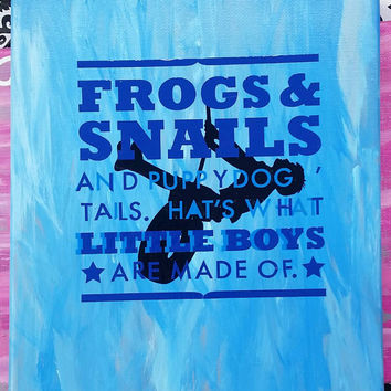 Frogs and Snails Boys Canvas Art -Bedroom Decor - Decor -Sports -Blue - Playing - Unique - Saying -Quote - Little Boys - Made of - Love