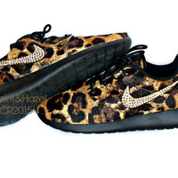 Womens Animal Print Pony Hair Roshe Run's with Swarovski crystal detail