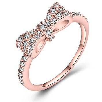 JUST N1 18K Rose Gold Plated Cute Bow Knot Design Engagement Rings for Girls Women, Size 6 to 11