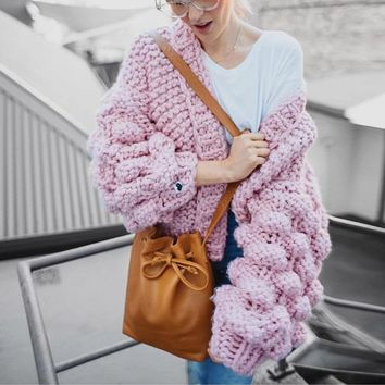 Sexy Knitted Puff Sleeve cardigan