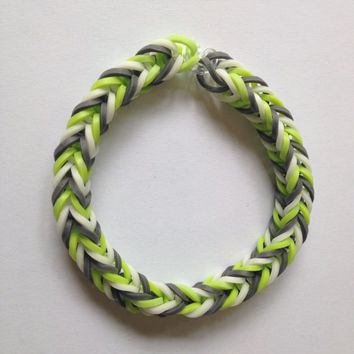 Grey, Green, and White Rubber Band Bracelet - Rainbow Loom