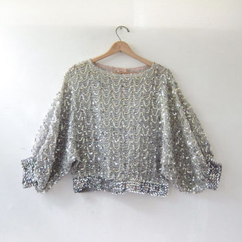 Vintage 80s sequins blouse. silver sequins top. party blouse. batwing shirt. gypsy blouse.