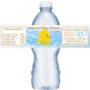 21 Duck Baby Shower Water Bottle Labels Yellow