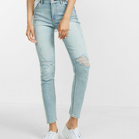 high waisted distressed cropped jean legging