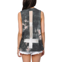 Obey Here Comes Trouble Tie Dye Cut Off Tank Top