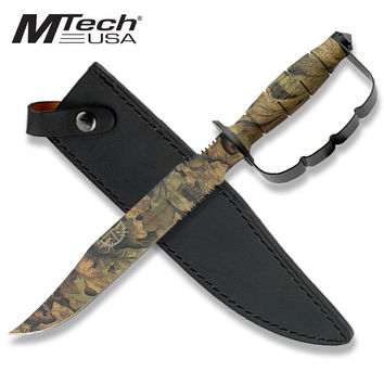 15 Inch Overall Camo Fixed Blade Knuckle Handle Bowie Survival Knife