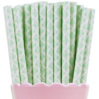 Mint Green Damask Paper Straws