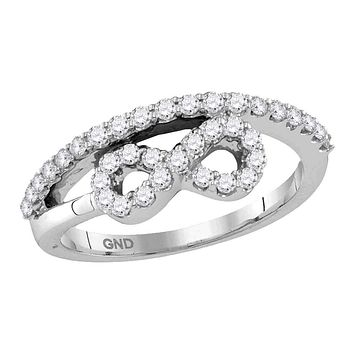 10kt White Gold Women's Round Diamond Woven Infinity Band Ring 1/2 Cttw - FREE Shipping (US/CAN)
