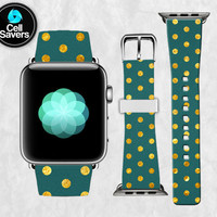 Gold Polka Dot Teal Green Texture Pattern Dots Circles Apple Watch Band Leather Strap iWatch for 42mm and 38mm Size Metal Clasp Watch Print