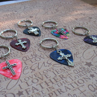 Cross Key Chain, 16 Colors Available, Faith Crucifix, Choice Guitar Pick, Christian Cross, Religious Easter