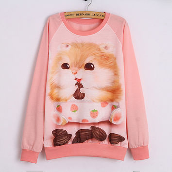 Casual Cute CartoonWomen Long Sleeve 3D Sweatshirt