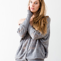 Gray Button Up Sweater — Bib + Tuck