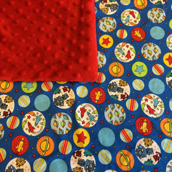 Rockets--Robots--Planets--Stars--Space and Red Dot Minky Fleece Blanket
